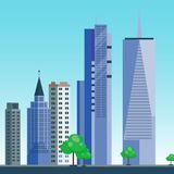 City outdoor day landscape house and street buildings outdoor cityspace disign vector illustration modern flat. Vector city with cartoon houses and buildings Stock Photo
