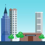 City outdoor day landscape house and street buildings outdoor cityspace disign vector illustration modern flat. Vector city with cartoon houses and buildings Royalty Free Stock Images