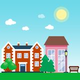 City outdoor day landscape house and street buildings outdoor cityspace disign vector illustration modern flat. Vector city with cartoon houses and buildings Stock Photography