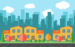 Vector city with cartoon houses and buildings. City space with road on flat style background concept. Summer urban landscape. Street view with cityscape on a Stock Illustration