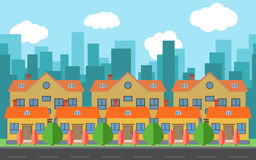 Vector city with cartoon houses and buildings. City space with road on flat style background concept Royalty Free Stock Photography