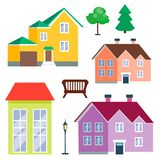 City outdoor day landscape house and street buildings outdoor cityspace disign vector illustration Royalty Free Stock Photos