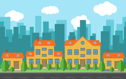 Vector city with cartoon houses and buildings with green trees and shrubs. City space with road on flat style background concept. Summer urban landscape Stock Images