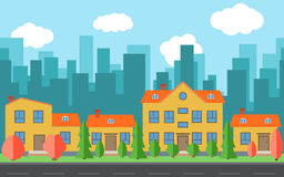 Vector city with cartoon houses and buildings with red and green trees and shrubs Stock Photos