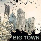 Vector city with cartoon houses and buildings  Stock Photos