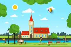 Vector City with Church, River and People in Park. Sunny Summer Day Vector Illustration Stock Photography