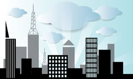 Vector city and cloud in blue sky background vecto Royalty Free Stock Photo