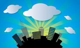 Vector city and cloud in blue sky background vecto Stock Photography