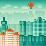 Vector city concept in flat style Stock Photography