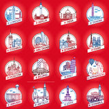 Vector city and country historical building badge set. Vector line city and country historical building badge set Stock Illustration