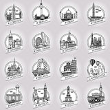 Vector city and country historical building badge set. Vector line city and country historical building badge set Royalty Free Illustration
