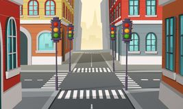 Vector city crossroads with traffic lights, intersection. Cartoon illustration of urban highway, street crosswalk. Town buildings view, architecture background vector illustration