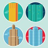 Vector city icons in flat style on round emblems Stock Images