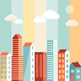 Vector city illustration in flat simple style Royalty Free Stock Images