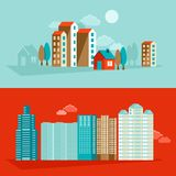 Vector city illustration in flat simple style Royalty Free Stock Photo