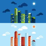 Vector city illustration in flat simple style Stock Photo
