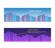 Vector city illustration in flat simple style - Royalty Free Stock Image