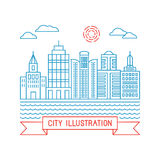 Vector city illustration in linear style Stock Photo