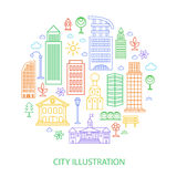 Vector city illustration in linear style, buildings and clouds stock illustration