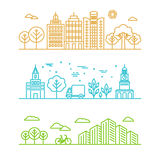 Vector city illustration in linear style Stock Images