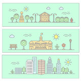 Vector city illustration in linear style - buildings and trees vector illustration