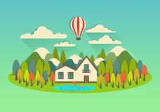 Vector city on the island with balloon Royalty Free Stock Photos