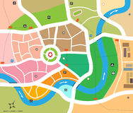 Vector City Map. A city map with river and subway lines and city zones with other significant details Stock Photo