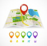 Vector city map with GPS Icons Stock Image