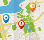 Vector city map with GPS Icons illustration stock illustration