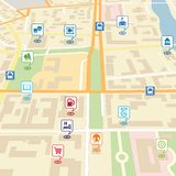 Vector city map with pin location pointers. Of services like hotel, hospital, supermarket, restaurant, park, shop, bus stop, library, theatre, cinema, garage or Stock Images
