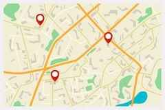 Vector city map with red markers Royalty Free Stock Images