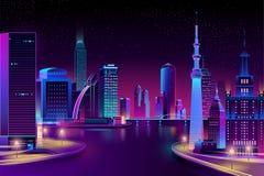 Vector city, megapolis on river at night. royalty free illustration