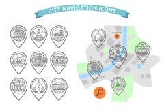Vector city navigation icons set Stock Photo