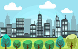 Vector city park with tall town building scenery illustration. Vector city park with tall town buildings, trees, sky, and cloud in landscape scenery illustration Stock Photography