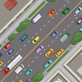 Vector city road with cars with buildings, grass and trees on sidelines top view illustration. Road street with car and building roof royalty free illustration