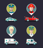 Vector city service infographics in flat style. Urban municipal transport with different professions men icons. Public, emergency, special vehicles Royalty Free Stock Images