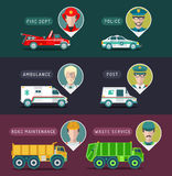 Vector city service infographics in flat style. Urban municipal transport with different professions men icons. Public, emergency, special vehicles Royalty Free Stock Photo