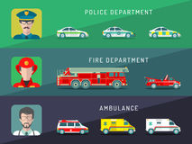 Vector city service infographics in flat style. Urban municipal transport with different professions men icons. Public, emergency, special vehicles Royalty Free Stock Image