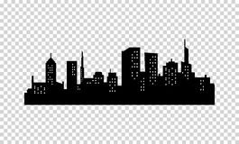 Vector City Silhouette. Black color. Panorama of Megapolis . Skyscrapers in the Night with Lights in the Windows Royalty Free Stock Photos