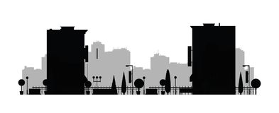 Vector city silhouette. Cityscape background. Illustration of architectural building in panoramic view. Modern city skyline. Big c. Ity streets. minimalistic Royalty Free Stock Photos