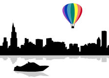 Vector City Silhouette. Color air balloon Stock Photos