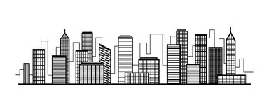 Vector city silhouette icon with windows. Vector Illustration Royalty Free Stock Photo