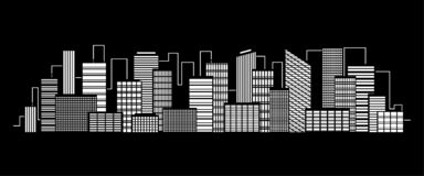 Vector city silhouette icon with windows in the night. Vector Illustration.  vector illustration