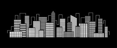 Vector city silhouette icon with windows in the night. Vector Illustration.  stock illustration