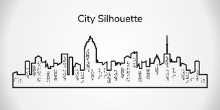 Vector city silhouette. City landscape on white background. Vector city silhouette. Night town on white background. City landscape royalty free illustration