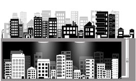 Vector city silhouette set and underground city Stock Photography