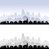 Vector City Skyline. Vector skyline of an imaginary city, with houses in the front, buildings in the middle and skyscrapers in the back level Royalty Free Stock Image