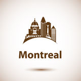 Vector city skyline with landmarks Montreal Quebec Canada. Stock Photo