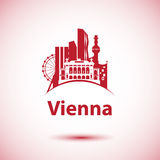 Vector city skyline with landmarks Vienna Austria. Royalty Free Stock Images