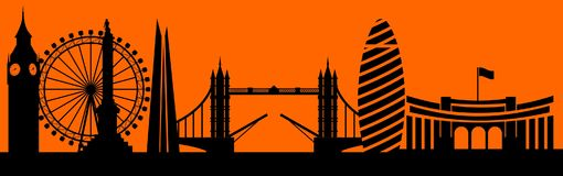 Vector city skyline silhouette. Illustration Royalty Free Stock Image